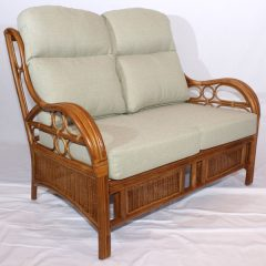 Quartz Brown Cane Rattan Conservatory Sofa 2 Seater Luxury Cushions 2