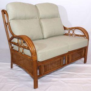Quartz Brown Cane Rattan Conservatory Sofa 2 Seater Luxury Cushions 2
