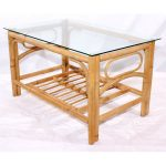 Queen Natural Cane Glass Top Coffee Table Conservatory furniture