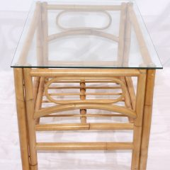 Queen Natural Cane Conservatory Glass Top Coffee Table