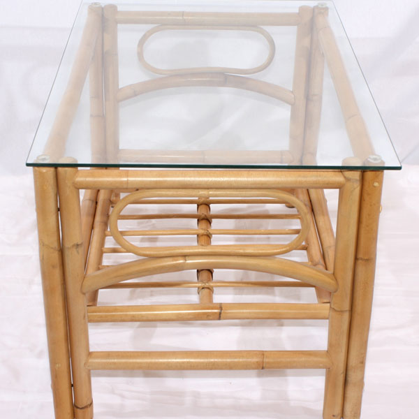 Rattan Conservatory Coffee Table: Natural Cane Glass Top Coffee Table Queen Conservatory