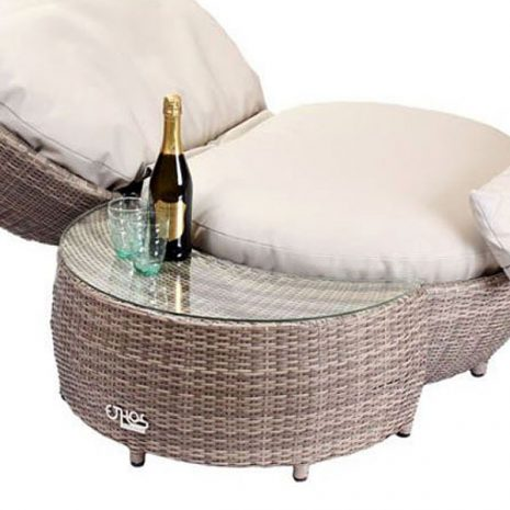 Rattan Apple Lounger Side Table Footstool