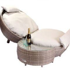 Sandbanks AquaMax Outdoor Rattan Apple Lounger Side Table Footstool