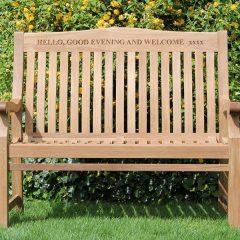 Betjeman 120cm Sustainable Teak High Back Garden Bench Engraved Front