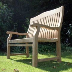 120cm Sustainable Teak High Back Garden Bench and Betjeman 150cm Sustainable Teak High Back Garden Bench
