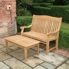 Betjeman 150cm Sustainable Teak High Back Garden Bench with coffee table