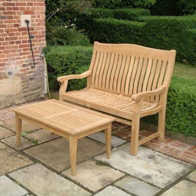 Betjeman 150cm Sustainable Teak High Back Garden Bench with coffee table