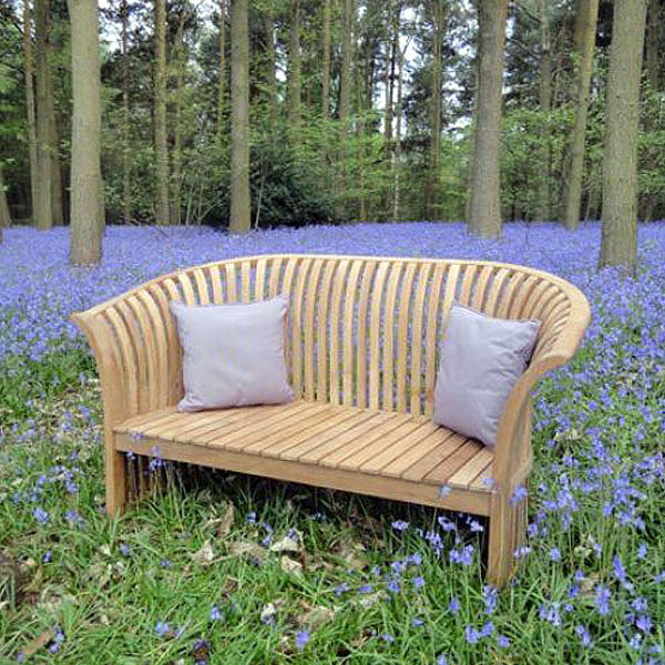 Chesterton Sustainable Teak Curved Back Bench Love Seat 2