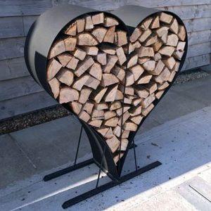 Heart Shaped Log Store Black