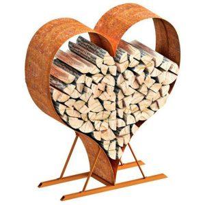 Heart Shaped Log Store Rustic. Log Rack. Outdoor accessories. Garden log store