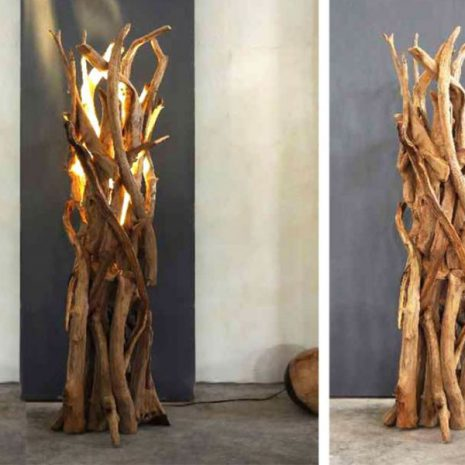 Negara Reclaimed Teak Root Floor Lamp on and off