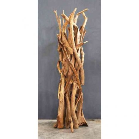 Negara Reclaimed Teak Root Floor Lamp switched off