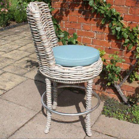 Poole Outdoor Garden Rattan Swivel Bar Chair Side
