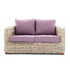 Poole Outdoor Rattan 2 Seater Garden Sofa - Lilac Cushions