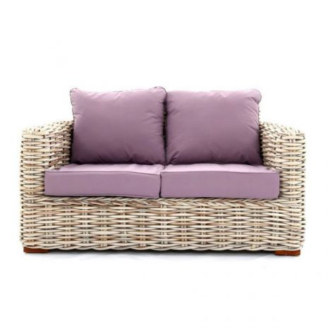 Poole Outdoor Rattan 2 Seater Garden Sofa - Lilac Cushions