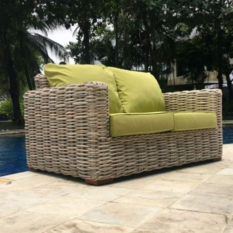 Poole Outdoor Rattan 2 Seater Garden Sofa Lime Green Cushions