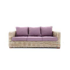 Poole Outdoor Rattan 3 Seater Garden Sofa Lilac Cushions