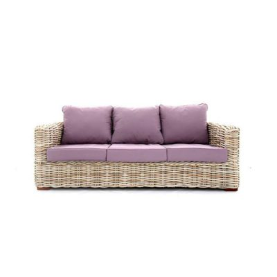 Poole Outdoor Rattan 3 Seater Garden Sofa Lilac Cushions