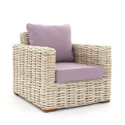 Poole Outdoor Rattan Garden Armchair Plus Lilac Cushion