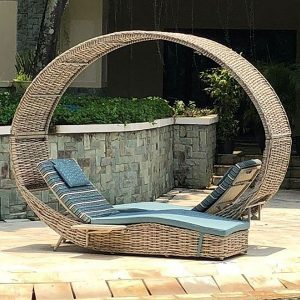 Poole Outdoor Rattan Garden Love Lounger Bed