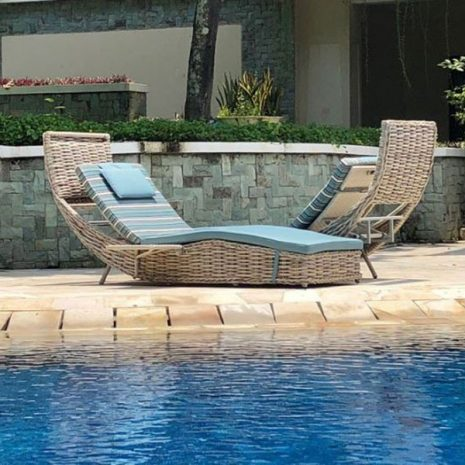 Poole Outdoor Rattan Garden Love Lounger Without the Canopy