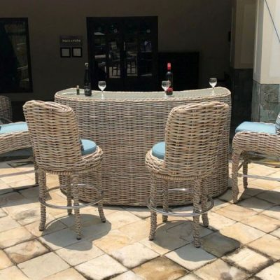 Poole Rattan Curved Outdoor Bar