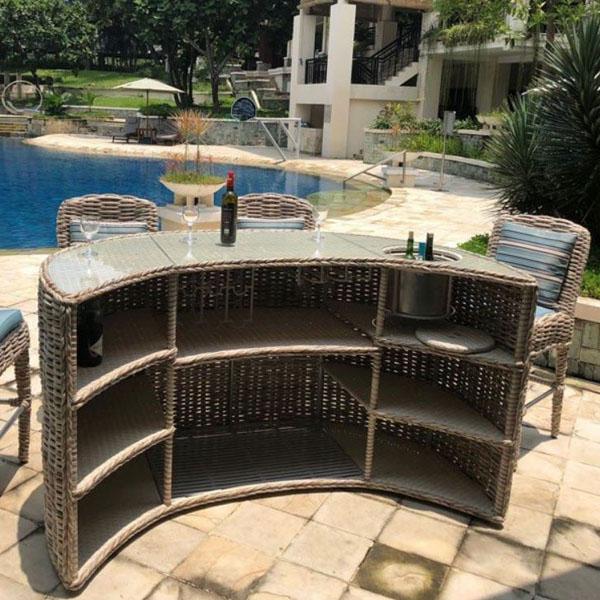 Indoor Bar: Poole Rattan Curved Outdoor Bar Garden Bar