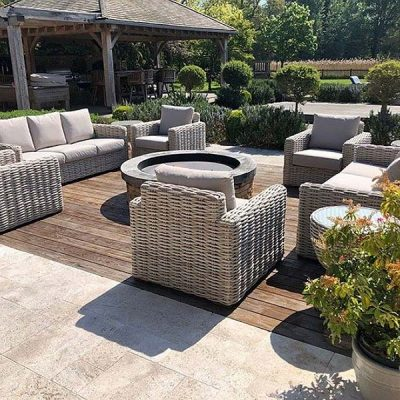 Poole Rattan Garden Furniture with Sandstone Cushions