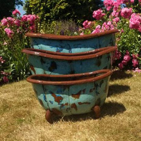Bathtub Garden Planters & Party Ice Buckets Set of 3 Front view
