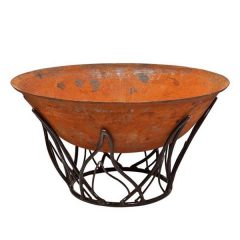Etna Cast Iron Fire Pit Wood Burner Bowl 1m and 80cm Plus Flame Shaped Stand