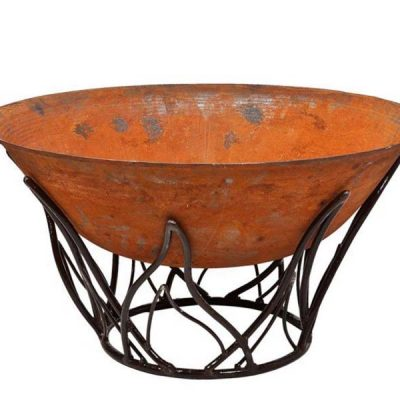 Etna Cast Iron Fire Pit Wood Burner Bowl Plus Flame Stand 80cm or 1m