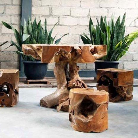 Kipling Teak Tree Root Square Stool with Kipling Teak Tree Root Round Stool and Kipling Teak Tree Root Table