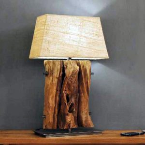 Otway Triple Teak Root Table Lamp includes shade