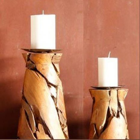 Reclaimed Teak Root Pillar Candle Holders