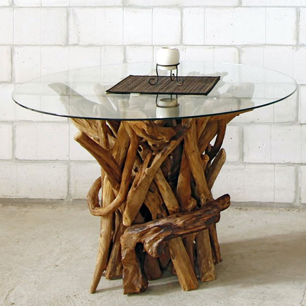 Round Dining Table Reclaimed Teak Root Glass Top Negara