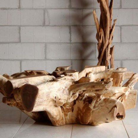 Round Reclaimed Teak Root Coffee Table Base