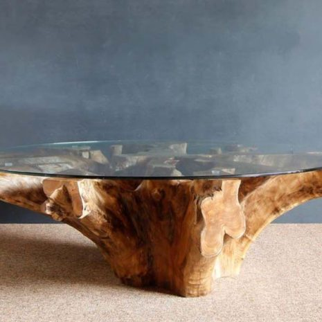 Round Reclaimed Teak Root Coffee Table Glass Top