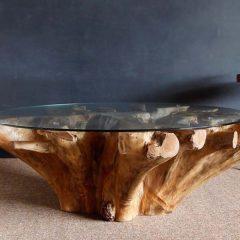 Kipling Reclaimed Teak Root Round Coffee Table Glass Top