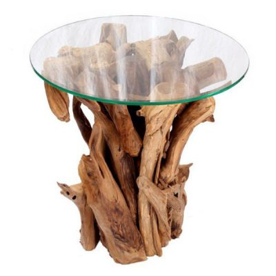 Negara Square Dining Table Reclaimed Teak Root Glass Top. Round Reclaimed Teak Root Glass Top Side Table