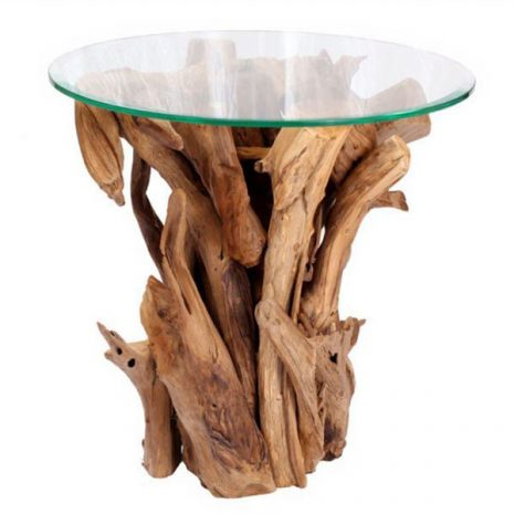 Round Reclaimed Teak Root Glass Top Side Table