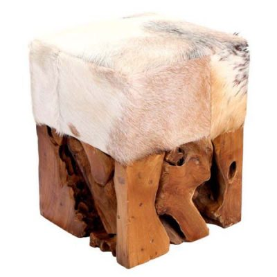 Small Square Reclaimed Teak Root Goat Skin Stool