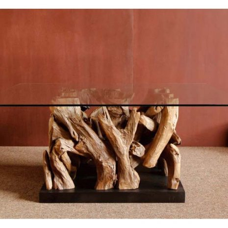 Square Coffee Table Reclaimed Teak Root Glass Top