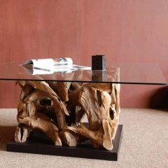Tijuca Reclaimed Teak Root Square Coffee Table Glass Top