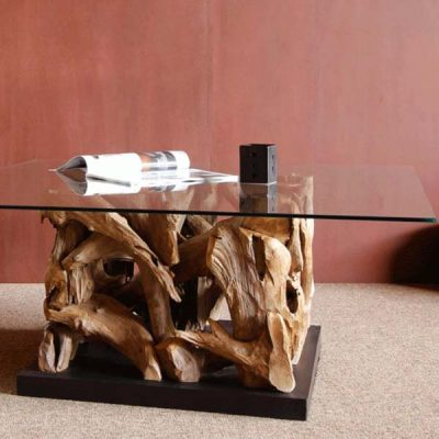 Reclaimed Teak Root Square Coffee Table Glass Top