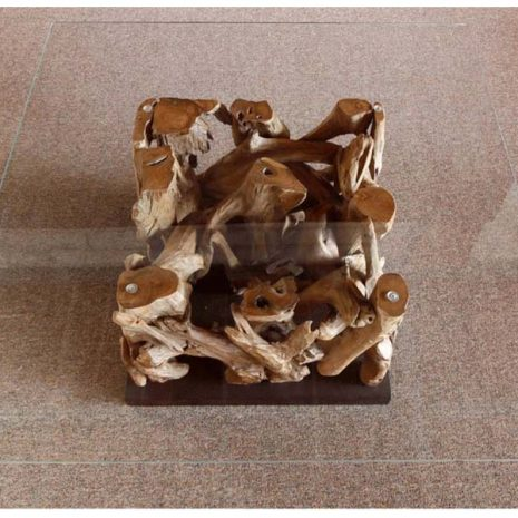 Square Coffee Table Reclaimed Teak Root Glass Top from above