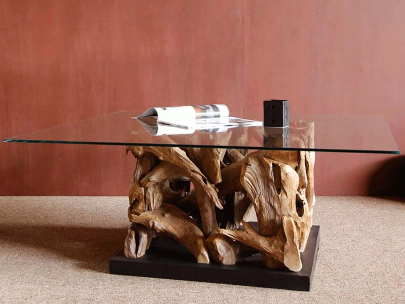 Reclaimed Teak Root Square Coffee Table Glass Top - Tijuca