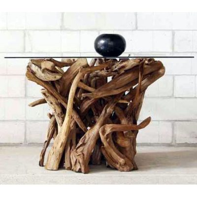 Negara Square Dining Table Reclaimed Teak Root Glass Top
