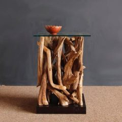 Negara Square Reclaimed Teak Root Glass Top Side Table