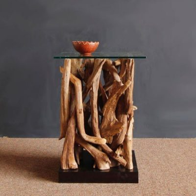 Negara Square Reclaimed Teak Root Glass Top Side Table
