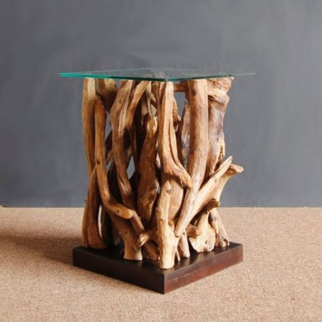 Square Reclaimed Teak Root Glass Top Side Table